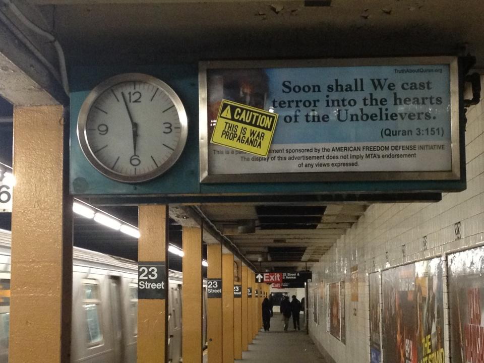 More anti-Muslim Ads in NYC Subways