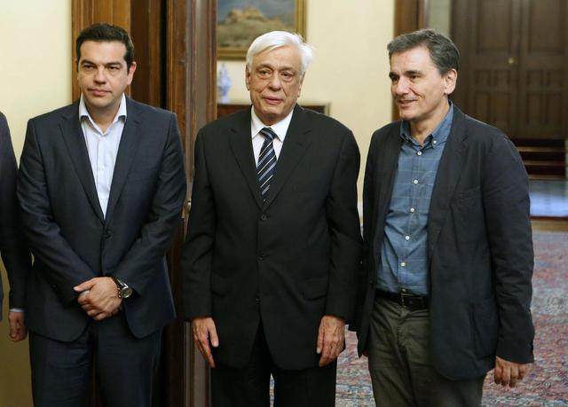 Greece's Prime Minister Alexis Tsipras, Greek President Prokopis Pavlopoulos, and the new Greek Finance Minister Euclid Tsakalotos