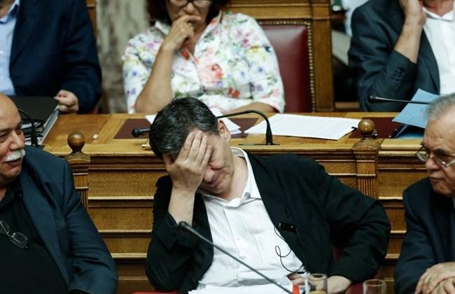 Greek Deputy Prime Minister Giannis Dragasakis, Greek Minister of Interior and Administrative Reconstruction Nikos Voutsis and Greek Finance Minister Euclid Tsakalotos