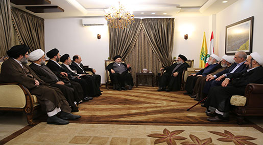 Hezbollah SG His Eminence Sayyed Hassan Nasrallah and Grand Ayatollah Sayyed Ali Sistani, His Eminence Sayyed Jawad al-Shahristani and the accompanying delegation