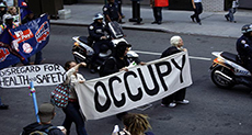 Protesters Gather in Downtown Manhattan for Occupy Wall Street Anniversary