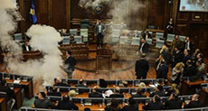 MPs in Second Tear Gas Protest in Kosovo Parliament