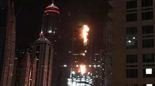Dubai Marina Torch Tower Engulfed By Flames for Second Time