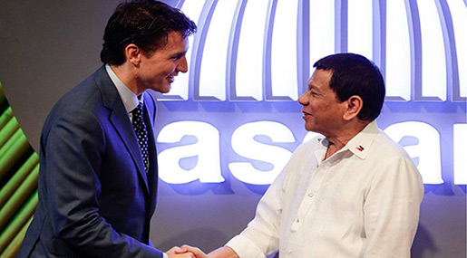 Canada PM Brings Up Human Rights With Philippine President