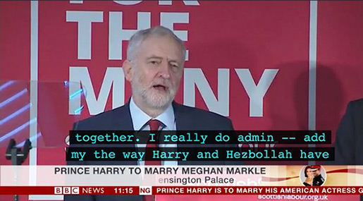 Labor's Corbyn «Admires Prince Harry and Hezbollah» in BBC Subtitles Blunder