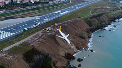 Plane Skids off Turkish Runway, Plunges towards Sea