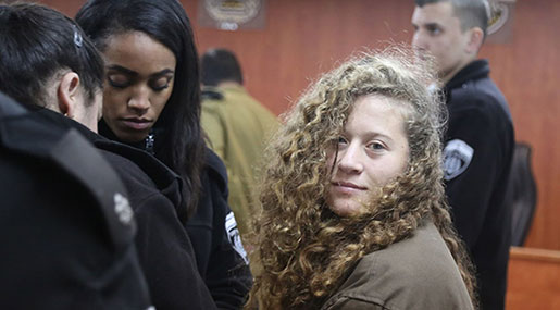 Amnesty: 'Israel' Must Release Teenage Palestinian Activist Ahed Tamimi