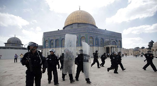'Israeli' Settlers Storm Holy Al-Aqsa Mosque under Military Protection