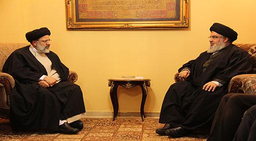 Sayyed Nasrallah Receives Custodian of Astan Quds Razavi Sayyed Ebrahim Raisi
