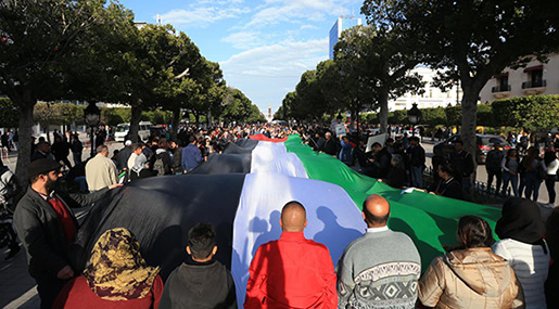 Tunisians Demonstrate In Solidarity With Palestine