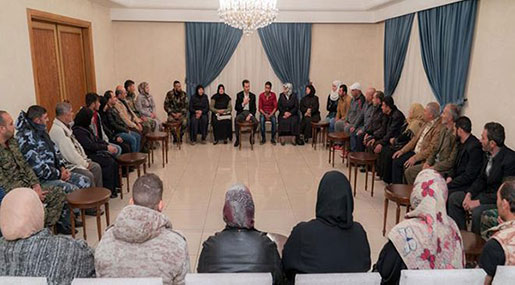 Al-Assad Receives Families of Missing Douma Abductees: Liberating Them A Humanitarian, National Issue