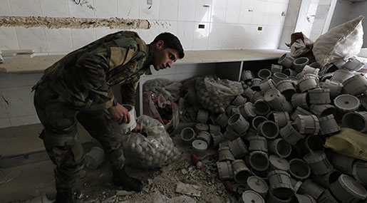 Reports: Syrian Army Finds Saudi-Made Explosives in Eastern Ghouta Cleanup Op