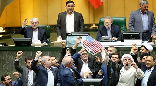 Iranian Lawmakers Burn US Flag, JCPOA Copy in Parliament
