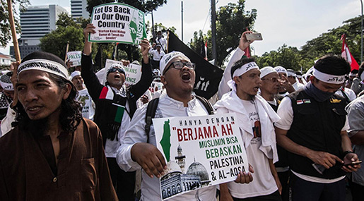 Mass Pro-Palestine Protest in Indonesia against US Al-Quds Move