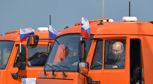 Putin Drives Truck to Open Bridge Linking Moscow with Annexed Crimea