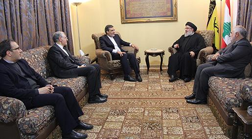 Sayyed Nasrallah, Iranian Deputy FM Hossein Jaberi Ansari and the accompaniying delegation