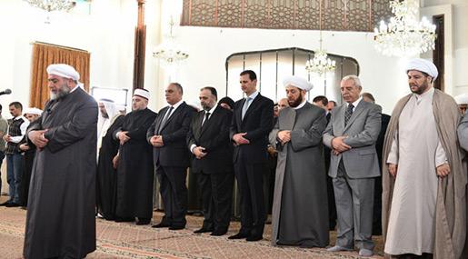 Eid Al-Fitr in Syria: Al-Assad Attends Prayers, Terrorists Martyr 3 Civilians