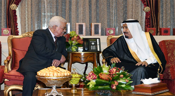 PA leader Mahmoud Abbas and Saudi King Salman