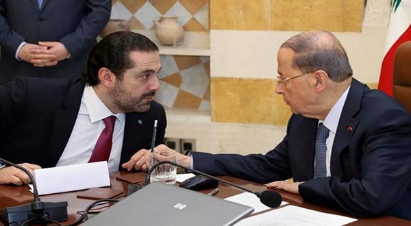 レバノン大統領ミシェル・アーンとPMサード・ハリリ
