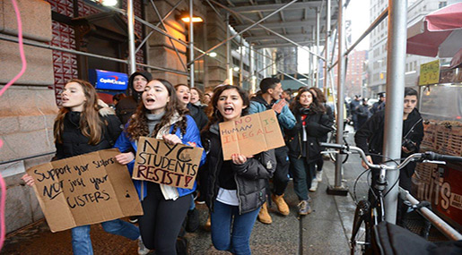 NYC Students Walk Out of Class for Trump Protest
