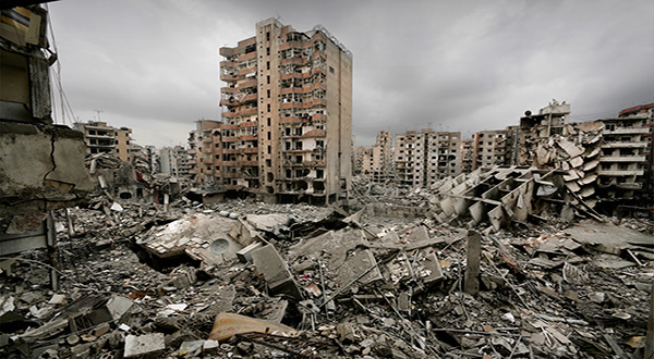 Destruction in Beirut's southern suburbs during Lebanon's 2006 war