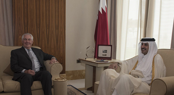Secretary of State Rex Tillerson meets with the emir of Qatar, Sheikh Tamim Bin Hamad al-Thani