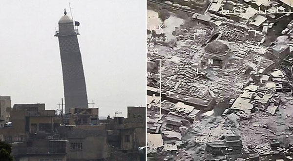 イラクの午後:ランドマークモスルのモスクを吹き飛ばして、Daeshが敗北を認めた