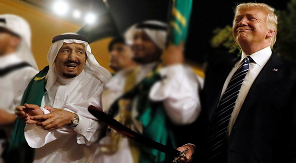 Saudi King Salman and US President Donald Trump in traditional Saudi dance