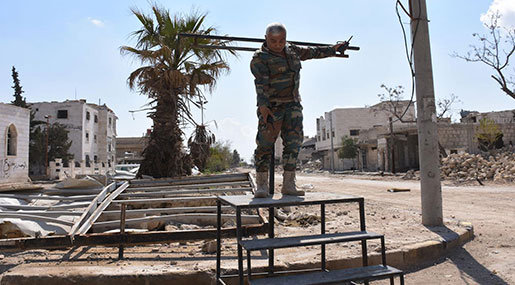 Defeated Daesh Leave behind Only Scorched Earth, Crucifixion Stands