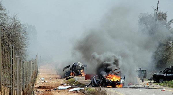 Israeli vehicle on fire