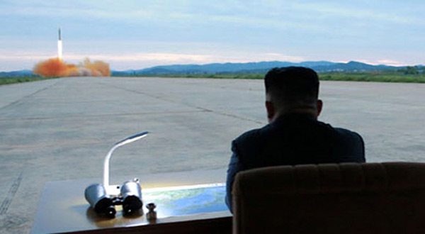 North Korean leader during a missile launch