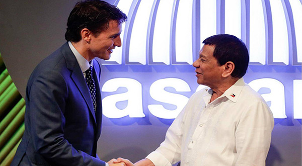 Canadian PM Justine Trudea and Philippine President Rodrigo Duterte