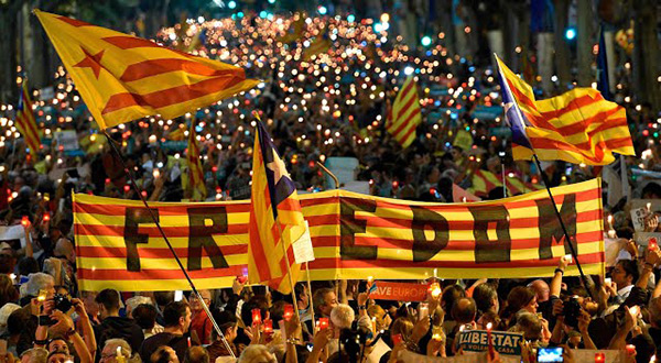 Catalans protesting