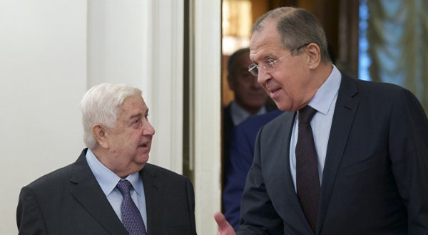 Syrian FM Walid al-Moallem and his Russian counterpart Sergei Lavrov