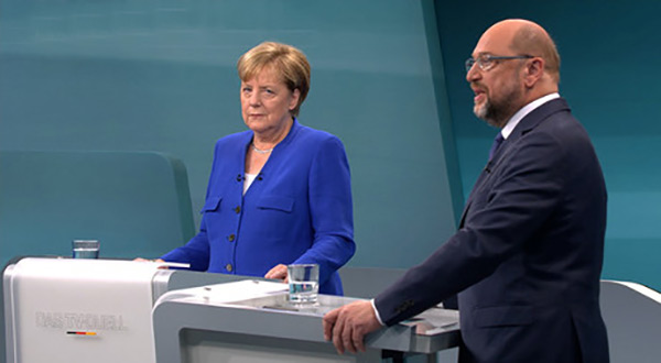 Chancellor Angela Merkel and her coalition ally SPD challenger Martin Schulz