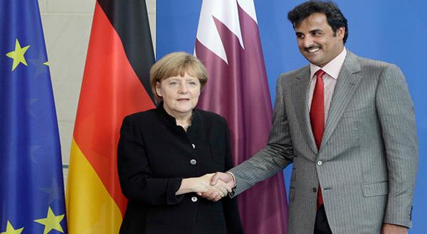 German Chancellor Angela Merkel and Qatari Emir