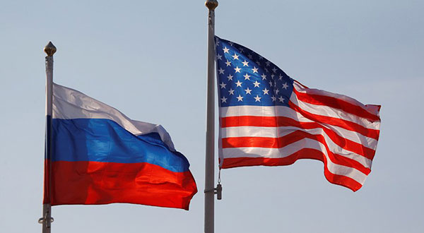 US-Russia flags