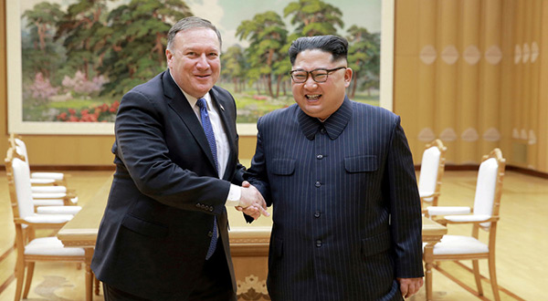 US Secretary of State Mike Pompeo and North Korean leader Kim Jong-un