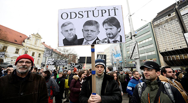 Protesters in Slovakia