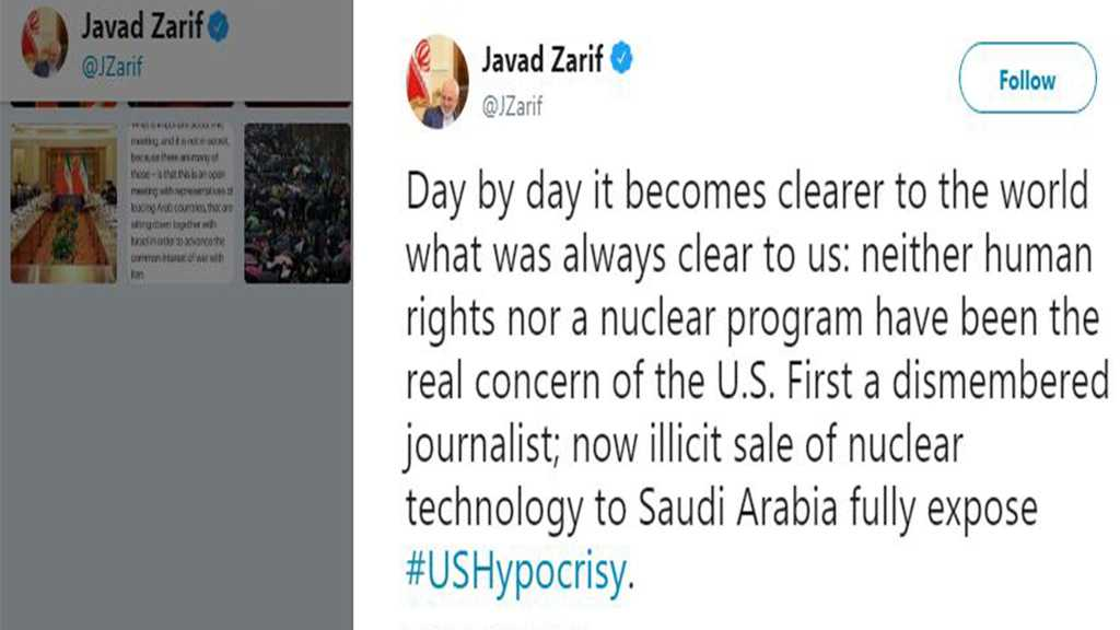 Zarif Slams US Sale of Nuclear Technology to Saudi Arabia as Hypocrisy