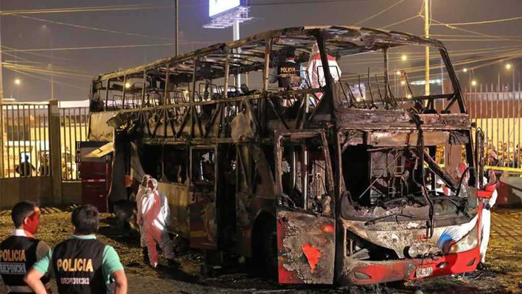 Peru Bus Fire: At Least 20 killed, 8 Injured at Banned Bus Stop
