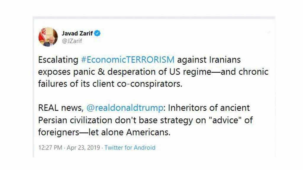Zarif: Escalation of Anti-Iran Economic Terrorism Shows US Panic, Desperation