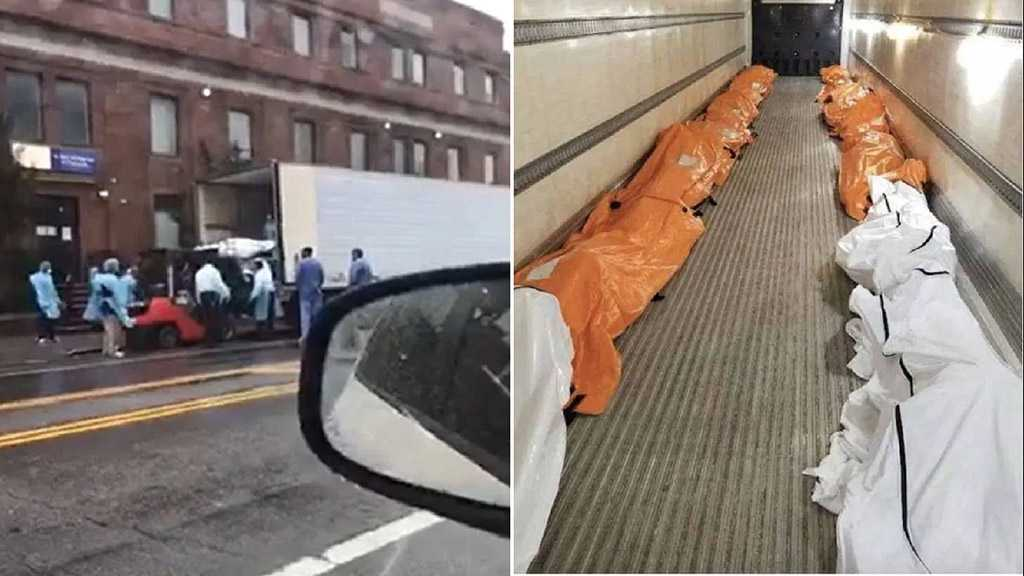 Bodies Loaded into Huge Trucks in NY as State's Covid-19 Toll Passes 1k