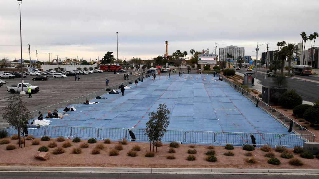 Unethical Social Distancing: Vegas Parking Lot A 'Homeless Shelter' although City's Hotels Empty
