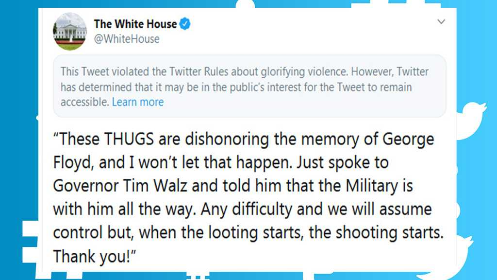 Twitter Blocks White House Tweet for 'Glorifying Violence' After Reposting Trump's Warning