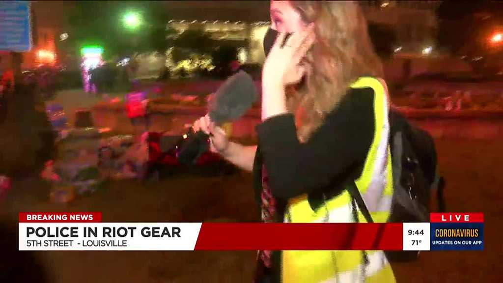 Police Fire Pepper Balls at TV Reporter, Crew during Live Coverage of Louisville Protests