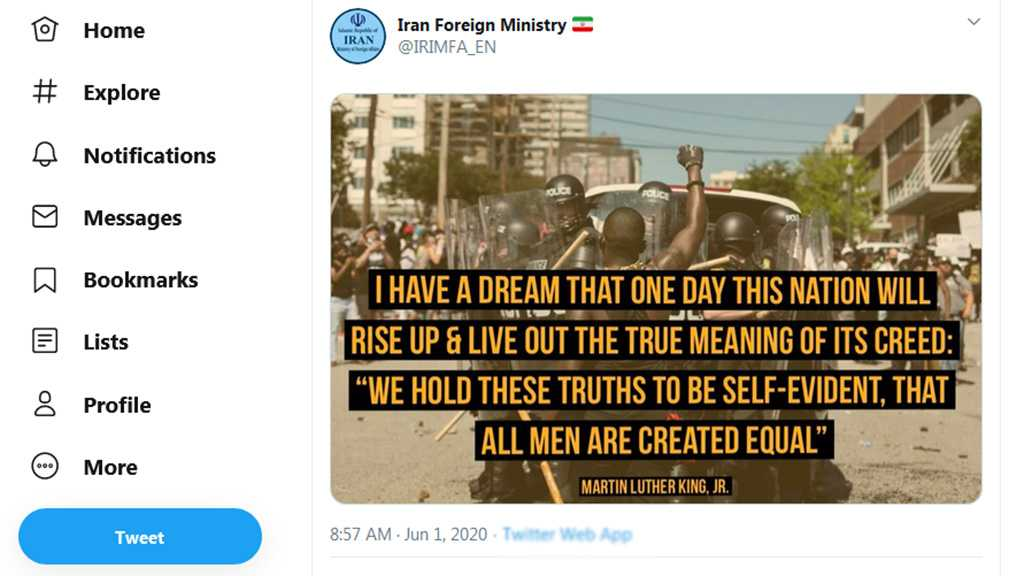 Iranian Foreign Ministry Tweets US Protest Photo with 'Rise up' Martin Luther King Quote