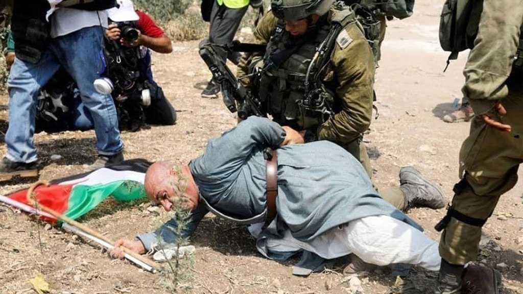 #ICantBreathe: 'Israeli' Soldier Kneels on Palestinian Elderly's Neck in West Bank Protest