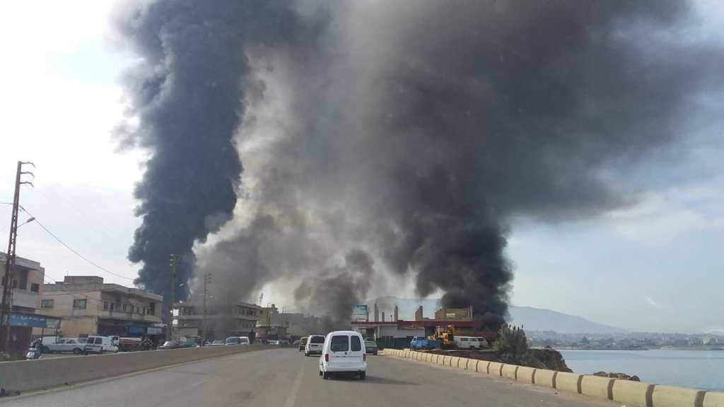 Civil Defense Controls Pipeline Fire North Lebanon