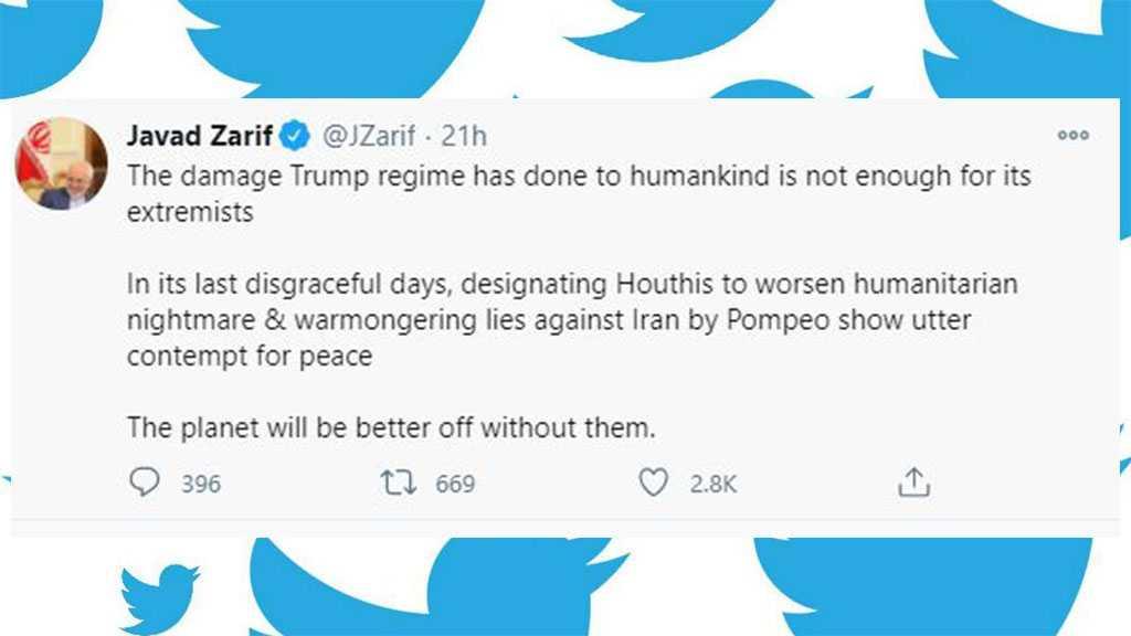 Zarif: Blacklisting Ansarullah Shows Utter Contempt of US for Peace